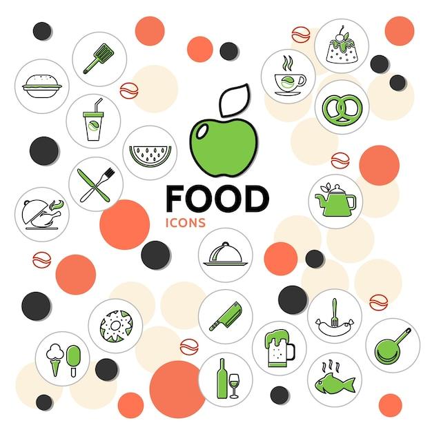 Voedsel lijn iconen collectie met fruit drankjes kip vis ijs cake donut worst krakeling keuken Gratis Vector