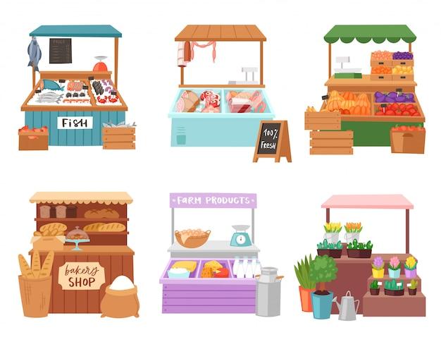 Voedsel markt verkoper verkoper karakter verkopen in boekhandel slager of bakker in kraam illustratie set mensen verkoop groenten in kruidenier of visverkopers geïsoleerd op witte achtergrond Premium Vector