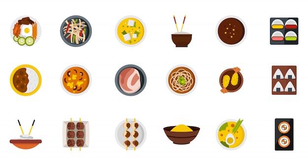 Voedsel op plaat pictogramserie. platte set van voedsel op plaat vector iconen collectie geïsoleerd Premium Vector