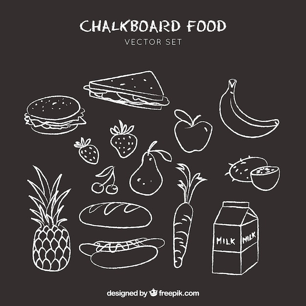 Voedsel pictogrammen doodle getrokken op bord achtergrond Gratis Vector