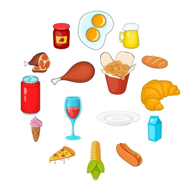Voedsel pictogrammen instellen in cartoon stijl Premium Vector