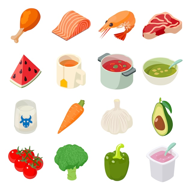 Voedsel pictogrammen instellen. isometrische illustratie van 16 voedsel vector iconen voor web Premium Vector