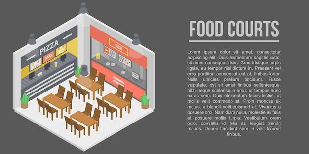 Voedsel rechtbanken concept banner, isometrische stijl Premium Vector