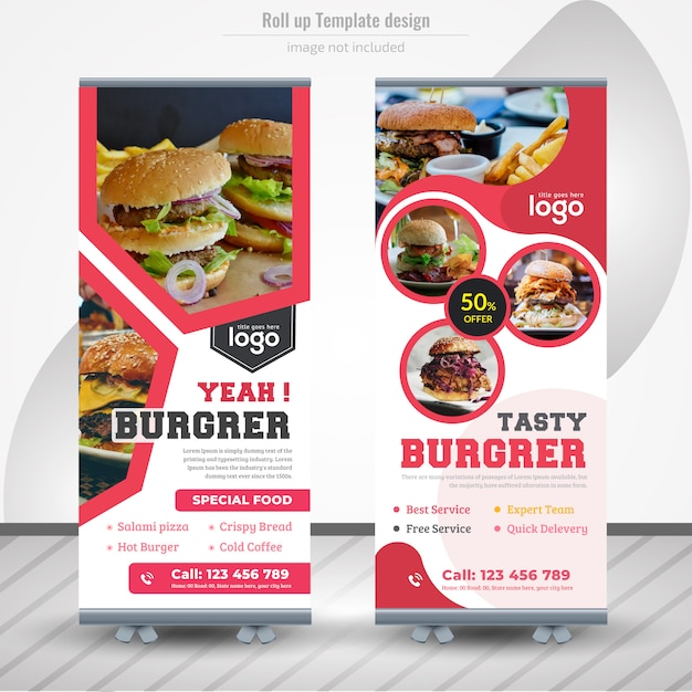 Voedsel roll-up banner design voor restaurant Premium Vector