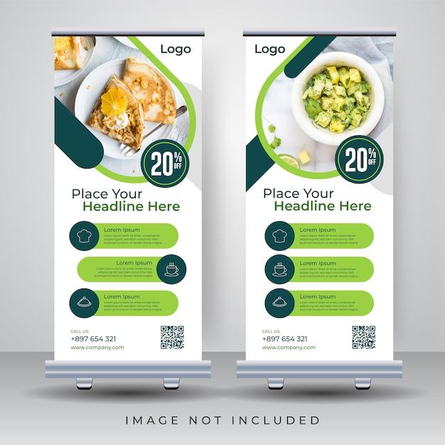 Voedsel roll-up banner ontwerpsjabloon Premium Vector