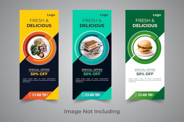 Voedsel rollup banner ontwerpsjabloon Premium Vector