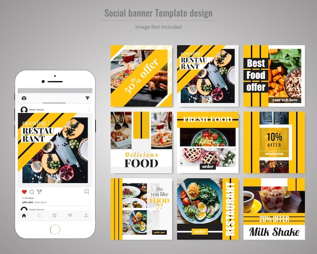 Voedsel sociale media post sjabloon voor restaurant Premium Vector