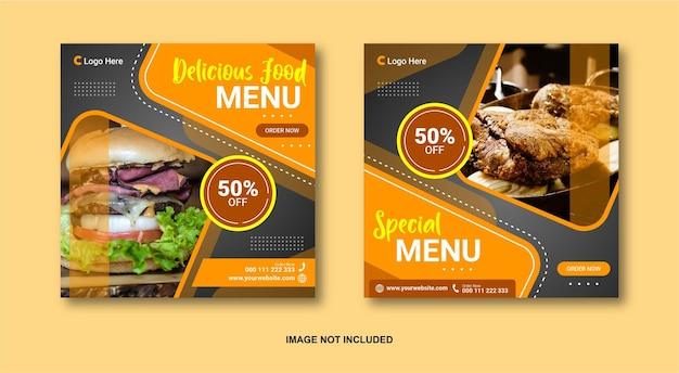 Voedsel sociale media post-sjabloon Premium Vector