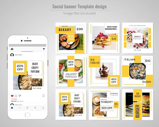 Voedsel sociale media postmalplaatje Premium Vector