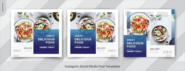 Voedsel sociale media vierkante postsjabloon Premium Vector