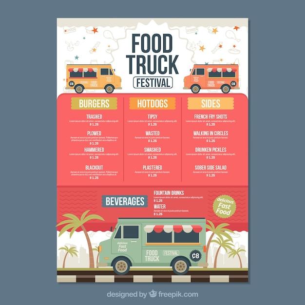 Voedsel truck menu met palmbomen Gratis Vector