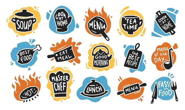 Voedsel typografie platte pictogramserie Gratis Vector