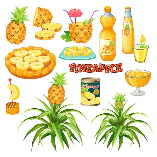 Voedsel van ananas. Premium Vector