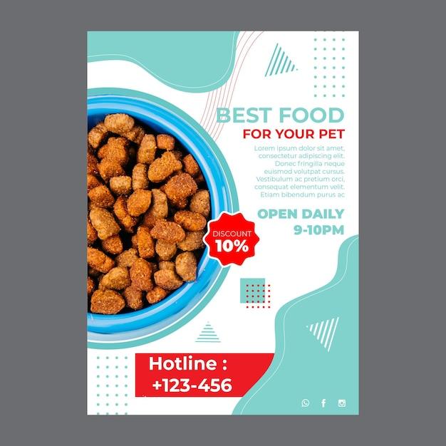 Voedsel voor huisdieren a5 flyer-sjabloon met foto Gratis Vector