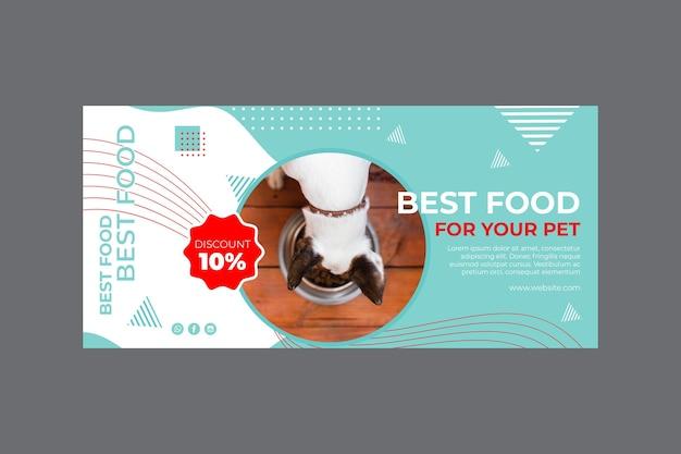 Voedsel voor huisdieren horizontale banner sjabloon met foto Gratis Vector