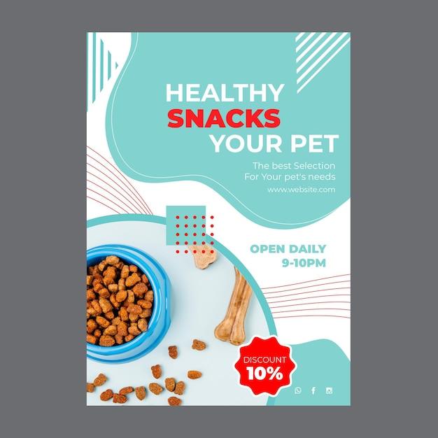 Voedsel voor huisdieren poster met foto Gratis Vector