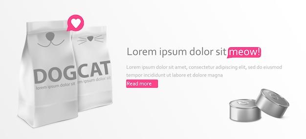Voedsel voor kat en hond pakket sjabloon ontwerp banner Gratis Vector