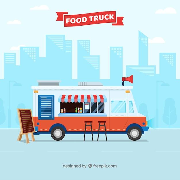 Voedsel vrachtwagen achtergrond Gratis Vector