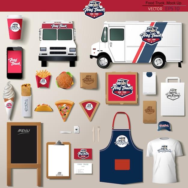Voedsel vrachtwagen huisstijl sjabloon ontwerpset. merksjabloon ,. Premium Vector
