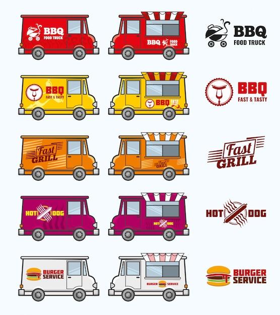Voedsel vrachtwagens set Premium Vector