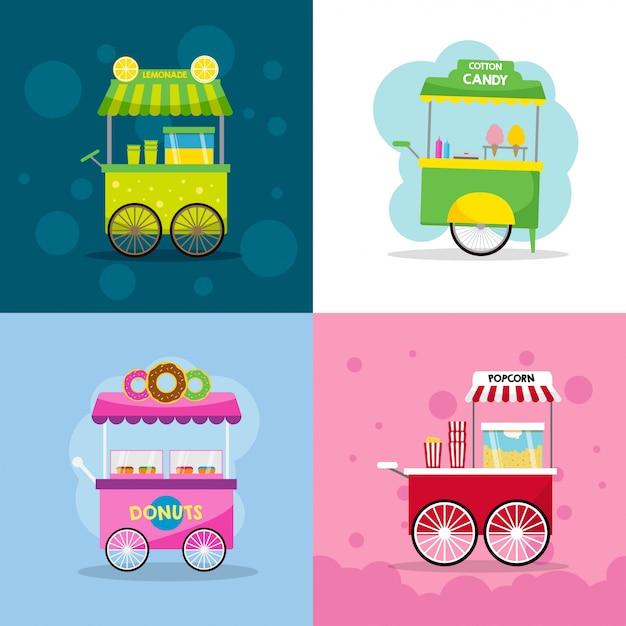 Voedsel winkelwagen illustratie Premium Vector