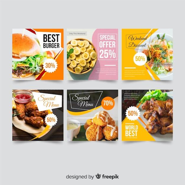 Voedselaanbieding banner met foto Gratis Vector