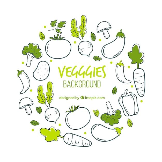 Voedselachtergrond met groenten Premium Vector