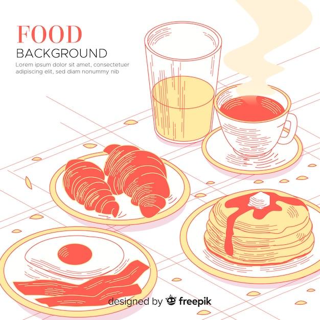 Voedselachtergrond met ontbijtzoetigheden Gratis Vector