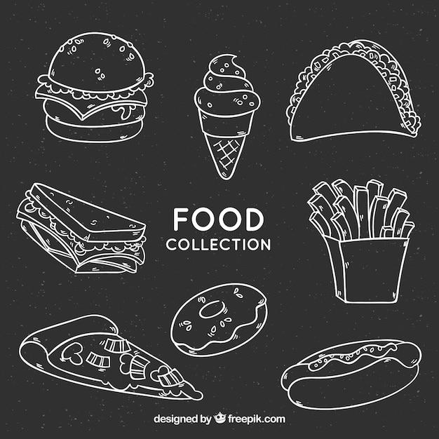 Voedselcollectie in schoolbordstijl Gratis Vector