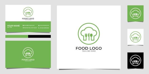 Voedsellogo met chef-kokhoed logo-ontwerp en visitekaartje Premium Vector