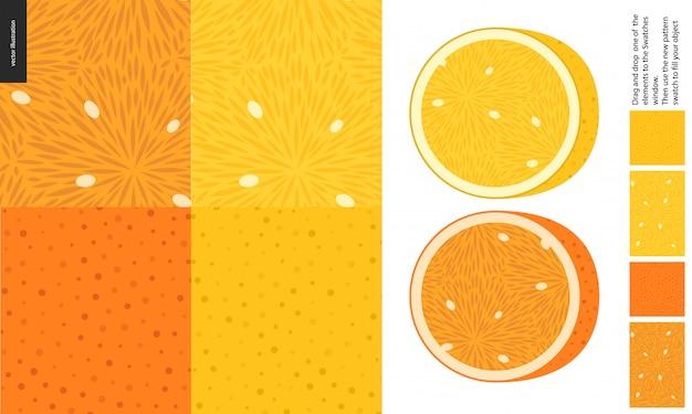 Voedselpatronen, fruit, citroen en sinaasappel Premium Vector