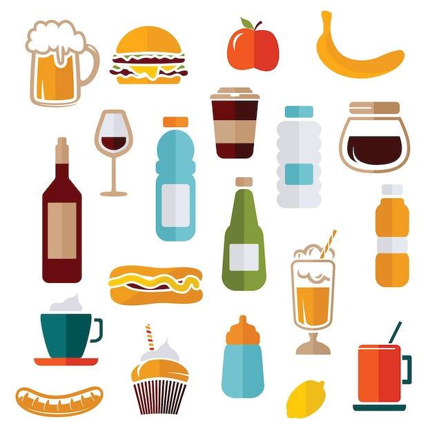 Voedselpictogrammen - voedseletiketten Premium Vector