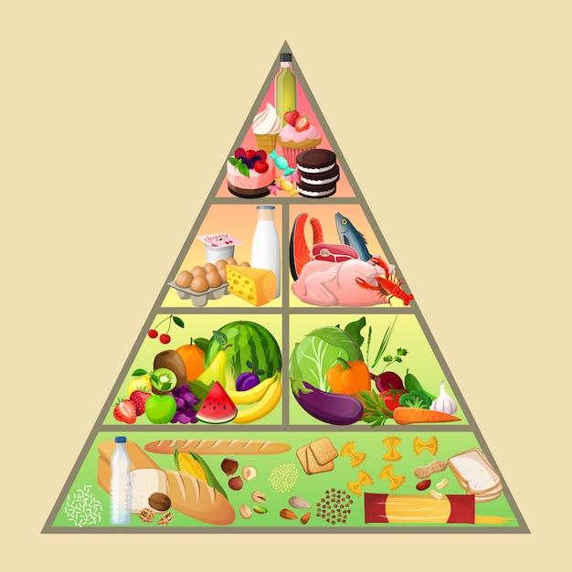 Voedselpiramide concept Gratis Vector