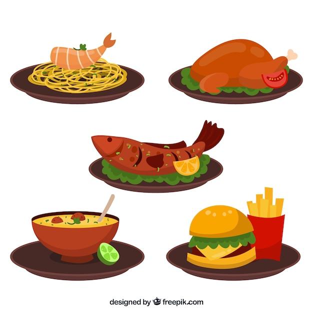 Voedselschotelverzameling met plat deisgn Gratis Vector