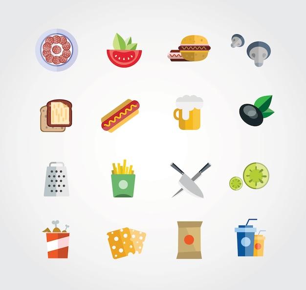 Voedselvrije vector set. pictogrammen voor ontwerp Premium Vector