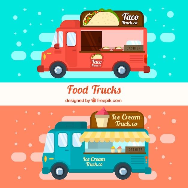 Voedselwagens met ijsjes en mexicaans eten Gratis Vector