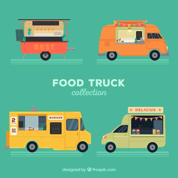 Voedselwagens met verschillende stijlen Gratis Vector