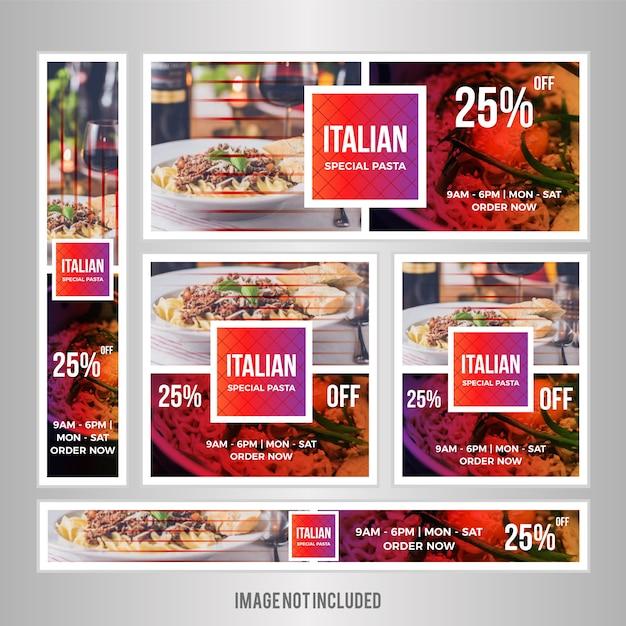 Voedselwebbanner ingesteld voor restaurant Premium Vector