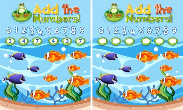 Voeg de nummers onderwaterrif toe Gratis Vector