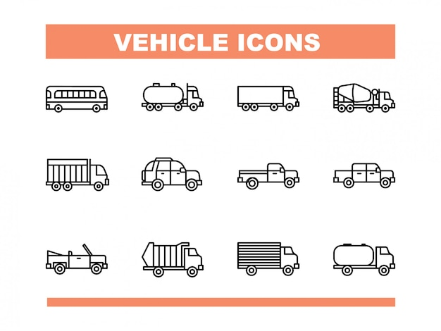 Voertuig icon set in line style vector Premium Vector