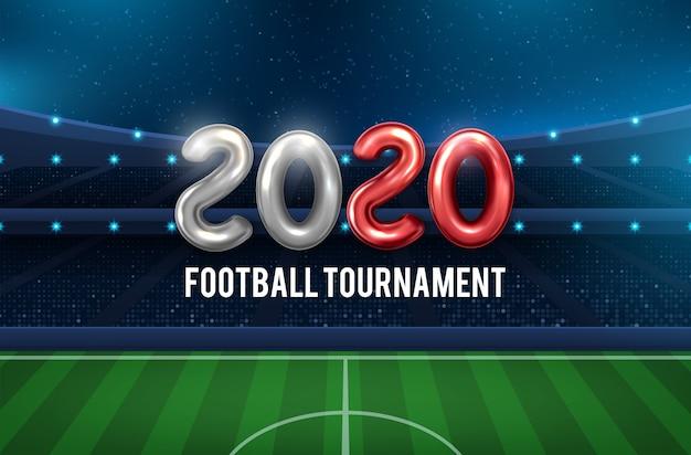 Voetbal 2020 cup achtergrond voor het voetbalkampioenschap Premium Vector