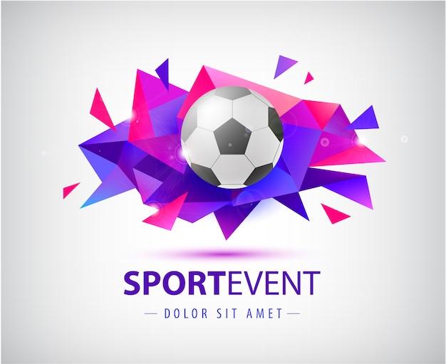 Voetbal abstract sjabloon voor voetbalomslagen, spandoeken, sportborden, posters en flyers met bal. facet geometrische vorm geïsoleerd. Premium Vector