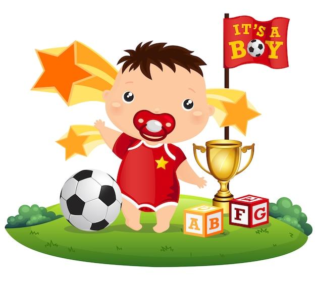 Voetbal baby Premium Vector