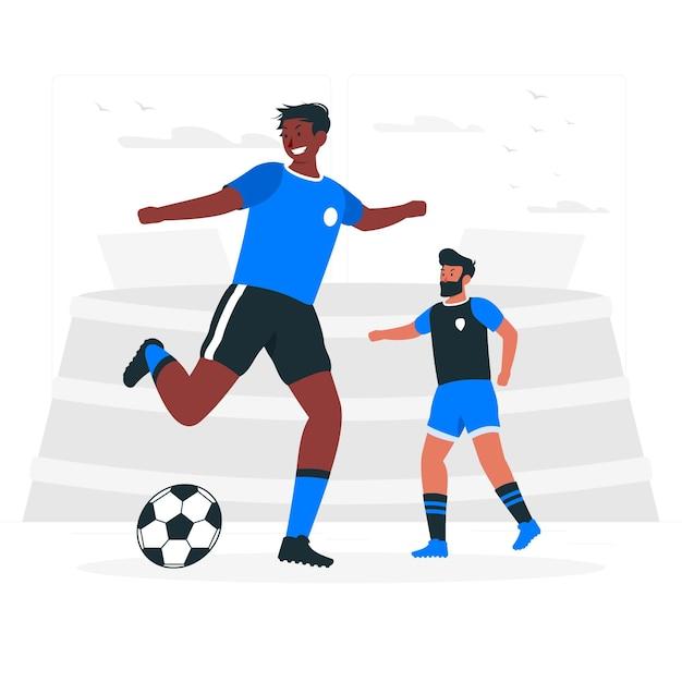Voetbal concept illustratie Gratis Vector