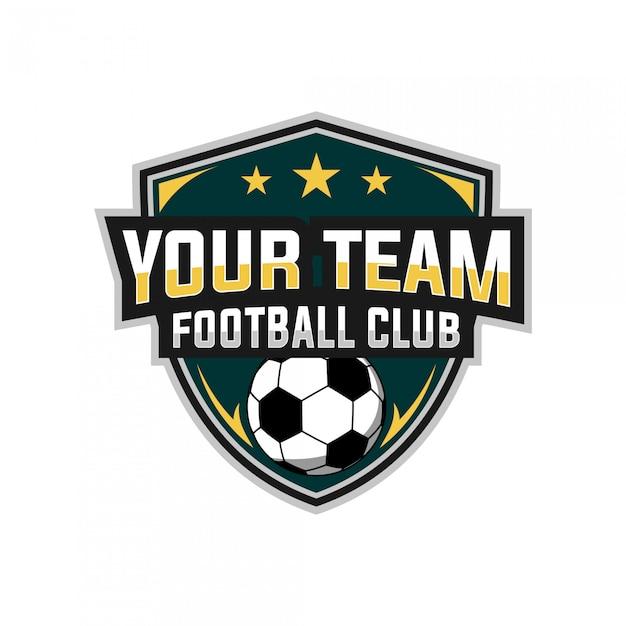 Voetbal esports logo-ontwerp Premium Vector