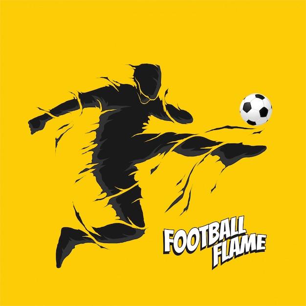 Voetbal fly kick kick silhouet Premium Vector