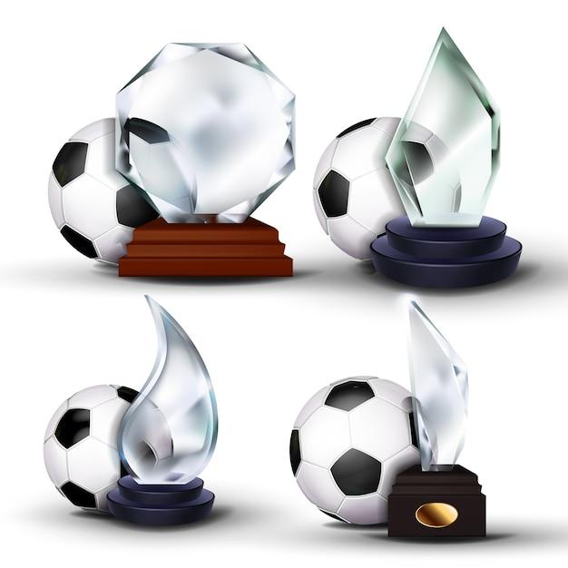 Voetbal game award set Premium Vector