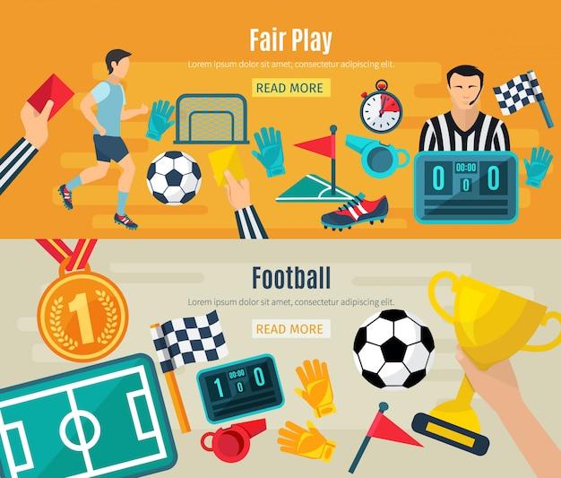 Voetbal horizontale die banner met de eerlijke geïsoleerde elementen van het voetbalspel wordt geplaatst Gratis Vector