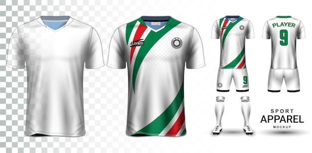 Voetbal jersey en voetbal kit presentatie mockup sjabloon Premium Vector
