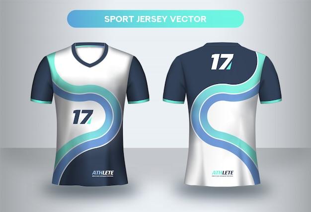 Voetbal jersey ontwerpsjabloon. corporate design, voetbalclub uniform t-shirt voor- en achteraanzicht. Premium Vector
